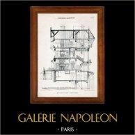 Dessin d'Architecte - Architecture - Cottage en Normandie ( Ch. Duval)   Héliotypie originale de E. Le Deley. 1910
