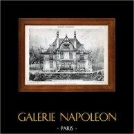 Disegno di Architetto - Architettura - Casetta in Normandia - Pl. 177 ( Ch. Duval) | Eliotipia originale di E. Le Deley. 1910