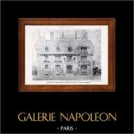 Dessin d'Architecte - Architecture - Maison de campagne - Pl. 217 (De Rutté) | Héliotypie originale de E. Le Deley. 1910