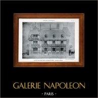 Dessin d'Architecte - Architecture - Maison de campagne - Pl. 218 (De Rutté) | Héliotypie originale de E. Le Deley. 1910