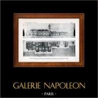 Ritning av Arkitekt - Arkitektur - Rouen - Järnvägsstation - Pl. 74 (Fernand Hamelet, Maurice Hamelet et Georges Monguin) | Original heliogravyr. Anonymt. 1906