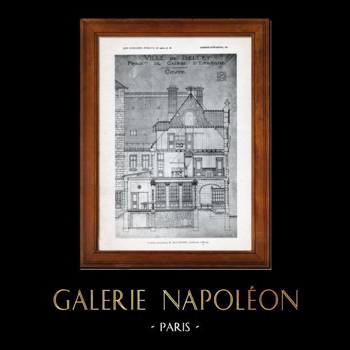 Gravures Anciennes & Dessins   Dessin d'Architecte - Architecture - Belley - Caisse d'Epargne - Pl. 48 (Abel Rochet)   Héliogravure   1906