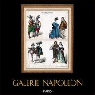 Fransk Dräkt - Mode - Kostym - Militär Uniform - Musketerare - Frankrike (1600-Talet - 17. Århundrade) | Original trästick efter teckningar av W. Diaz. Original handkolorerad. 1870