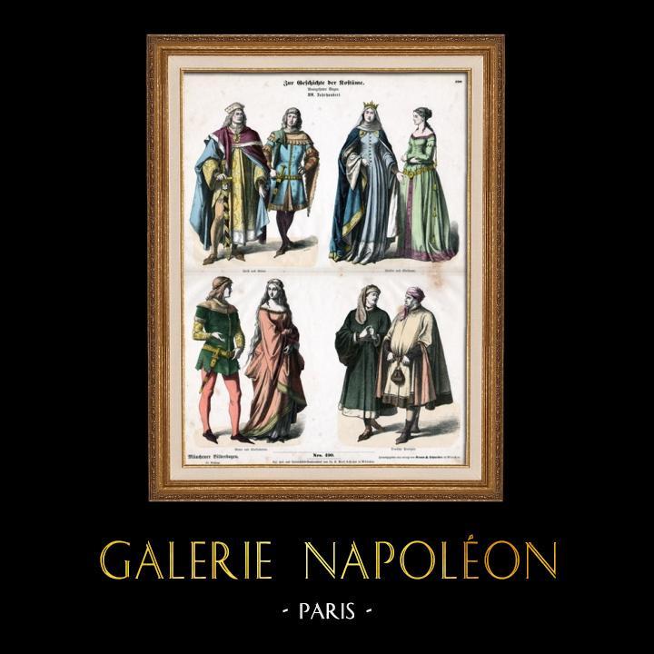 Gravures Anciennes & Dessins   Costume Allemand - Mode Allemande - Uniforme - Allemagne - Prince (14ème Siècle - XIVème Siècle)   Gravure sur bois   1870