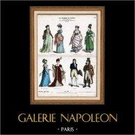 Französische Tracht und Kleidung - Kostüme - Französische Mode - Frankreich - Dame im Ballkleid (19. Jahrhundert - XIX. Jahrhundert) | Original holzstich gezeichnet von Knilling. Alt-handkoloriert. 1870