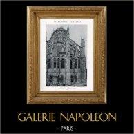 Cathédrale de Bourges - Abside (Cher - France) | Héliotypie originale. Anonyme. 1926