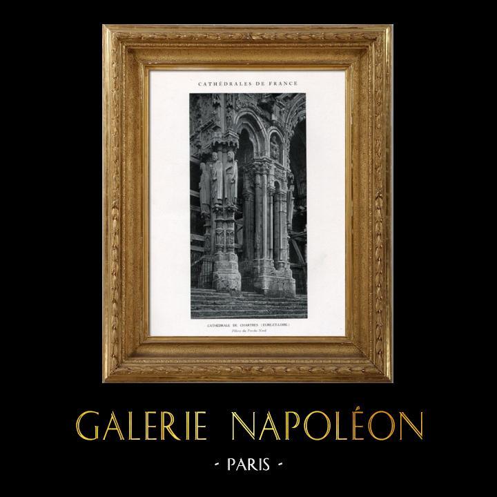 Gravures Anciennes & Dessins   Cathédrale de Chartres - Piliers du Porche Nord (Eure-et-Loir - France)   Héliotypie   1926