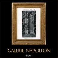 Cathédrale de Chartres - Piliers du Porche Nord (Eure-et-Loir - France) | Héliotypie originale. Anonyme. 1926