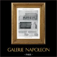 Dessin d'Architecte - Monument Historique - Ancien Palais Episcopal de Laon (Aisne - France) | Héliotypie originale. Anonyme. 1926