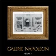Architektenzeichnung - Historisches Denkmal - Abtei von Saint-Martin-des-Champs (Frankreich) | Original heliotypie. Anonyme. 1926