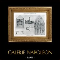 Dibujo de Arquitecto - Monumento Histórico - Iglesia de Tour (Calvados - Francia) | Originale heliotipia. Anónima. 1926