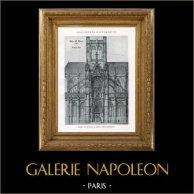 Dessin d'Architecte - Monument Historique - Eglise Abbatiale Saint Maclou à Rouen (Seine-Inférieure - France) | Héliotypie originale. Anonyme. 1926