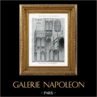 Dessin d'Architecte - Monument Historique - Eglise Saint Maclou à Rouen (Seine-Inférieure - France) | Héliotypie originale. Anonyme. 1926