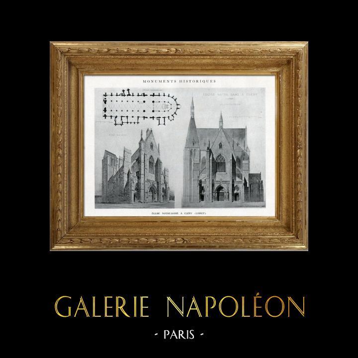 Gravures Anciennes & Dessins | Dessin d'Architecte - Monument Historique - Eglise Notre-Dame de Cléry (Loiret - France) | Héliotypie | 1926