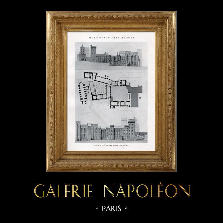 Gravures Anciennes & Dessins | Dessin d'Architecte - Monument Historique - Palais des Papes d'Avignon (Vaucluse - France) | Héliotypie | 1926