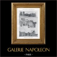 Dessin d'Architecte - Monument Historique - Palais des Papes d'Avignon (Vaucluse - France) | Héliotypie originale. Anonyme. 1926