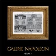 Disegno di Architetto - Monumento Storico - Spalto - Fortificazione di Avignone - Baluardo  - Porte Saint-Michel - Remparts d'Avignon (Vaucluse - Francia) | Eliotipia originale. Anonima. 1926