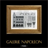 Drawing of Architect - Historic Monument - City Hall of Saint-Antonin-Noble-Val (Tarn-et-Garonne - France)