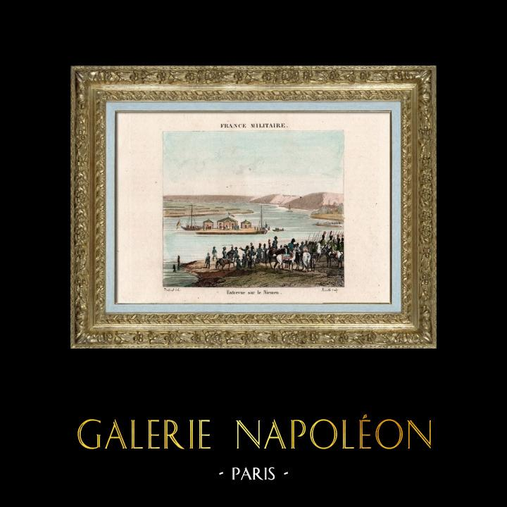 Gravures Anciennes & Dessins | Guerres Napoléoniennes - Entrevue de Napoléon et du Tsar Alexandre Ier de Russie sur le Fleuve Niémen (1807) | Taille-douce | 1837