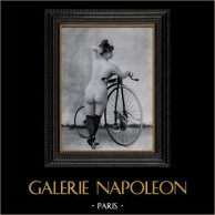 French Erotic Daguerreotype - Female Nude - Woman with her Bicycle | Original heliogravure after an erotic daguerreotype created in 1880. 1930