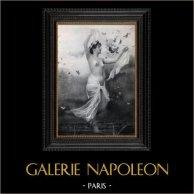 Daguerrotipo Erótico Francés - Desnudo Femenino - La Ninfa Desnuda Rodeada por las Mariposas | Original heliograbado según un daguerrotipo erótico realizado en 1880. 1930