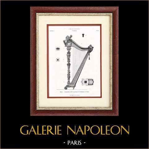 Instrumento Musical - Harpa - Viena (W. Wollanek) | Typogravure original. Anónima. 1877