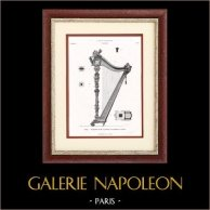 Instrument de Musique - Harpe - Vienne (W. Wollanek) | Typogravure originale. Anonyme. 1877