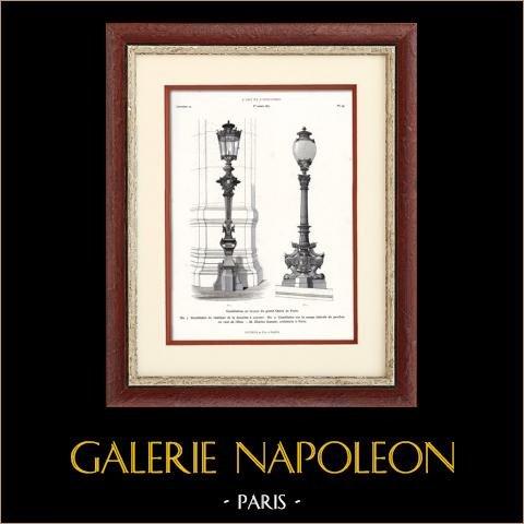 Paris - Candélabres en Bronze de l'Opéra de Paris (Charles Garnier) | Typogravure originale. Anonyme. 1877