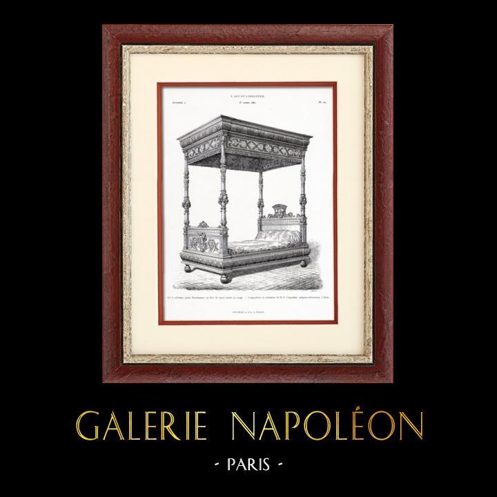 Gravures Anciennes & Dessins   Meuble Ancien - Lit à Colonnes - E. Carpentier (Paris)   Typogravure   1877