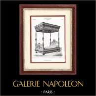 Meuble Ancien - Lit à Colonnes - E. Carpentier (Paris) | Typogravure originale. Anonyme. 1877