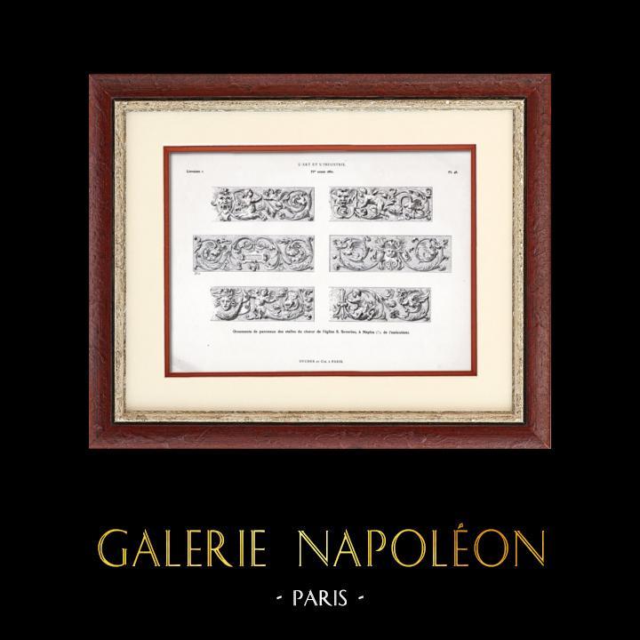 Gravures Anciennes & Dessins   Ornements de Panneaux des Stalles du Choeur de l'Eglise S. Severino à Naples   Typogravure   1877