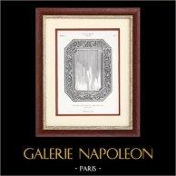 Glace à Biseaux en Argent Ciselé fond Ebène - Maison Boucheron à Paris (Grand Prix 1878) | Typogravure originale. Anonyme. 1877