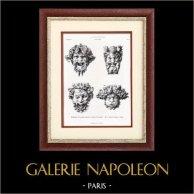 Gargouilles de la Grande Cascade du Palais du Trocadéro à Paris - E. Legrain (Paris) | Typogravure originale. Anonyme. 1877