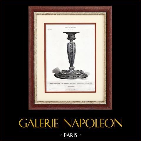 Flambeau en Argent Ciselé - Style Renaissance - Ciselé par J. Brateau - Maison Boucheron (Paris) | Typogravure originale. Anonyme. 1877
