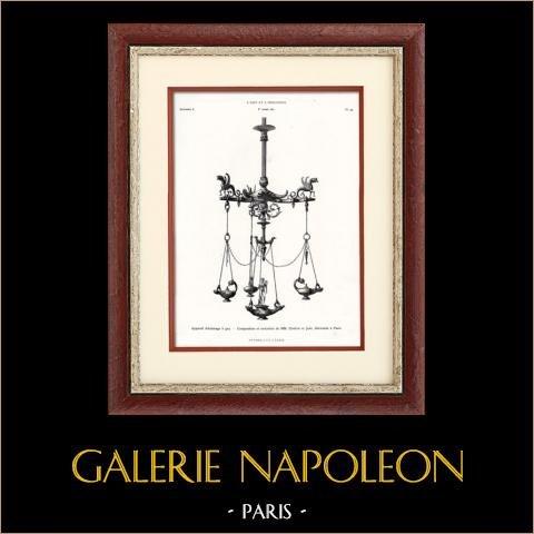 Appareil d'Eclairage à Gaz - MM. Chabrié et Jean (Paris) | Typogravure originale. Anonyme. 1877