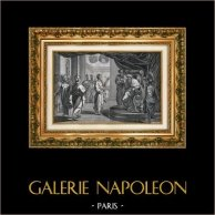 Bible - Ancient Egypt - Joseph Interprets King Pharaoh's Dreams | Original lithograph. Anonymous. 1822