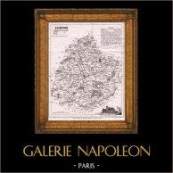 Mapa del Departamento Francés Sarthe - Le Mans - Pays de la Loire (Francia) | Original acero grabado grabado por Alès. 1845