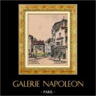 Sikte - Skådespel av Paris - Gammala Montmartre - La Rue Norvins (Frankrike) | Original färg litografi efter teckningar av L. Baubant. Undertecknat. 1915