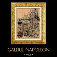 Sikte - Skådespel av Rouen - Rue de La Grosse Horloge (Frankrike) | Original färg litografi efter teckningar av L. Baubant. Undertecknat. 1915