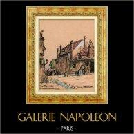 Sikte - Skådespel av Paris - Gammala Montmartre - La Maison de Mimi Pinson (Frankrike) | Original färg litografi efter teckningar av L. Baubant. Undertecknat. 1915