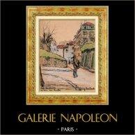 Sikte - Skådespel av Paris - Gammala Montmartre - La Rue des Saules (Frankrike) | Original färg litografi efter teckningar av L. Baubant. Undertecknat. 1915