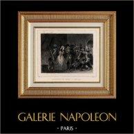Rivoluzione Francese - Assassinio di Marat da parte di Charlotte Corday (13 luglio 1793) | Incisione su acciaio originale disegnata da Raffet, incisa da Frilley. Chine collé. 1834