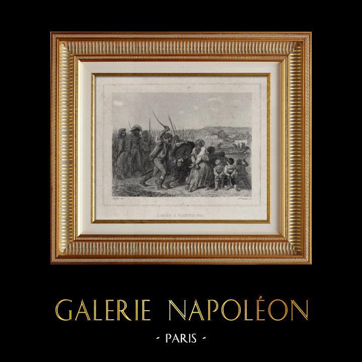 Gravures Anciennes & Dessins | Révolution française - Carrier à Nantes (1794) - Bourreau de Nantes - Guerre de Vendée - Guillotine | Taille-douce | 1834