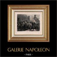 Franska Revolutionen - Septembermorden (September 2 och 3 1792) - Revolutionär - Avrättnings Fånge | Original stålstick efter teckningar av Raffet, graverade av Frilley. Chine collé. 1834