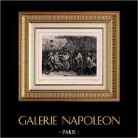 Revolución Francesa - 5 y 6 de Octubre de 1789 - La Marcha de las Mujeres - Versailles - Tullerías | Original acero grabado dibujado por Raffet, grabado por Frilley. Chine collé. 1834