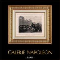 Franska Revolutionen - Gripande av 29 Gironden Representant och Minister Clavière och Lebrun Tondu (Juni 2 1793) | Original stålstick efter teckningar av Raffet, graverade av Friley. Chine collé. 1834