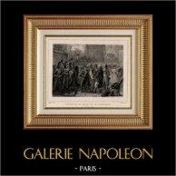 Rivoluzione Francese - Incontro di Marat ed di Dumouriez (16 ottobre 1792) - Bourbotte - Convenzione Nazionale | Incisione su acciaio originale disegnata da Raffet, incisa da Frilley. Chine collé. 1834