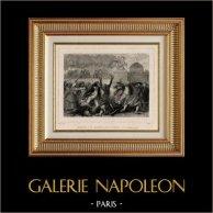 Rivoluzione Francese - Esercito  Revolucionário - Marsiglia - Tuileries Parigi (30 luglio 1792) - Inno Nazionale - Rouget de Lisle | Incisione su acciaio originale disegnata da Raffet, incisa da Pigeot. Chine collé. 1834