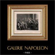 Révolution française - Le Peuple aux Tuileries (20 Juin 1792) - Louis XVI - Bonnet Phrygien | Gravure sur acier originale dessinée par Raffet, gravée par Frilley. Chine collé. 1834