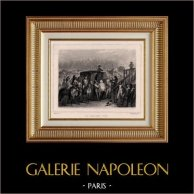 Franska Revolutionen - Avrättnings - Ludvig XVI av Frankrike (Oktober 16, 1792) - Giljotinerades | Original stålstick efter teckningar av Raffet, graverade av Frilley. Chine collé. 1834